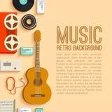 Плоская концепция предпосылки аппаратур музыки вектор Стоковые Изображения RF