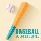 Плоская концепция предпосылки бейсбола значка спорта Стоковая Фотография