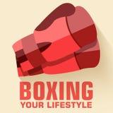 Плоская концепция предпосылки бокса спорта вектор Стоковое Изображение