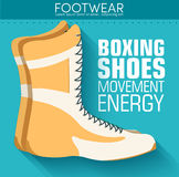Плоская концепция предпосылки ботинок бокса спорта вектор Стоковые Изображения