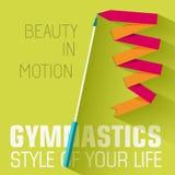 Плоская концепция предпосылки гимнастики спорта вектор Стоковое Изображение