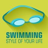 Плоская концепция предпосылки заплывания спорта вектор Стоковая Фотография RF