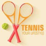 Плоская концепция предпосылки значка тенниса спорта вектор Стоковая Фотография RF