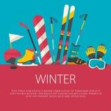 Плоская концепция спорта зимы дизайна Стоковое Изображение