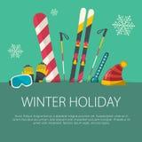 Плоская концепция спорта зимы дизайна Стоковая Фотография RF