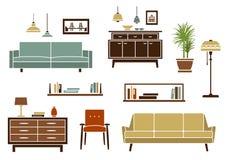 Плоская мебель и внутренние аксессуары бесплатная иллюстрация