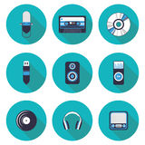 Плоская музыка значков Стоковое фото RF