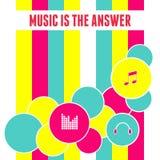 Плоская предпосылка музыки конспекта дизайна Стоковое Изображение