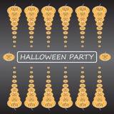 Плоская предпосылка партии хеллоуина тыкв для плаката Стоковая Фотография