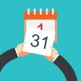 Плоская предпосылка с рукой и календарем Стоковые Фото