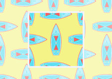 Плоская предпосылка с surfboards на желтом цвете Vector безшовная картина с примером как использовать в дизайне и оформлении Стоковое Фото