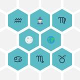 Плоская планета земли значков, краб, девственница и другие элементы вектора Комплект символов значков галактики плоских также вкл Стоковое Изображение RF