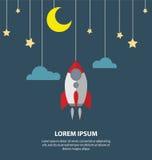 Плоская луна, звезда и смертная казнь через повешение ракеты на веревочках нового дела Стоковое Изображение