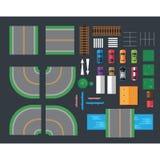 Плоские автомобили и различные вещи для автомобилей Взгляд сверху Стоковое Изображение