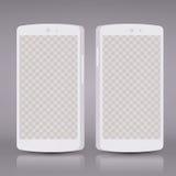 Плоские белые модель-макеты smartphones 3d с пустым экраном Пустой телефон экрана Стоковые Фотографии RF