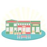 Плоские бистро ресторана кафа стиля немногое ботинки и кофе продовольственного рынка крошечного значка магазина установленные Стоковые Изображения RF