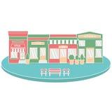 Плоские бистро ресторана кафа стиля немногое ботинки и кофе продовольственного рынка крошечного значка магазина установленные Стоковые Фотографии RF