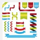 Плоские большие ленты установили вектор в векторе голубых, зеленых, красных цветов Стоковое Изображение RF