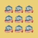 Плоские винтажные значки скидки Стоковое Фото