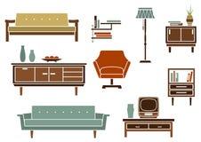Плоские внутренние мебель и аксессуары бесплатная иллюстрация