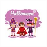 Плоские дети хеллоуина Стоковые Фотографии RF