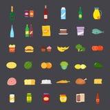 Плоские еда стиля и комплект значка напитков Стоковое фото RF