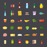 Плоские еда стиля и комплект значка напитков иллюстрация штока