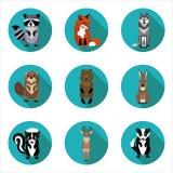 Плоские животные значков Стоковое фото RF
