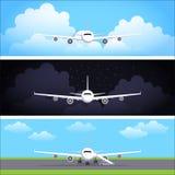 Плоские знамена сети вектора установленные с самолетами Стоковое Фото