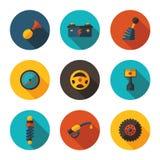 Плоские значки автоматические Стоковое Фото