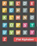 Плоские значки алфавита, красочная версия иллюстрация штока