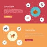 Плоские значки бегемот, петух, Сибирский бурундук и другие элементы вектора Комплект символов значков зоологии плоских также вклю иллюстрация штока