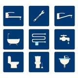 Плоские значки ванной комнаты установленные на голубую предпосылку также вектор иллюстрации притяжки corel Стоковые Фотографии RF
