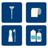 Плоские значки ванной комнаты установленные на голубую предпосылку также вектор иллюстрации притяжки corel Стоковое фото RF