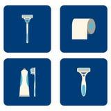 Плоские значки ванной комнаты установленные на голубую предпосылку также вектор иллюстрации притяжки corel Стоковое Фото