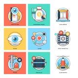 Плоские значки 24 вектора идей проекта цветного барьера иллюстрация штока