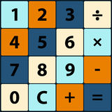 Плоские значки в квадратном калькуляторе Стоковое Изображение