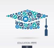 Плоские значки в шляпе градации формируют, образование, школа, знание, концепции elearning Стоковое Изображение RF