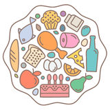 Плоские значки еды, качественный стиль, вектор логотипа Стоковая Фотография RF