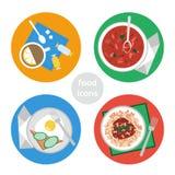 Плоские значки еды Стоковые Изображения RF
