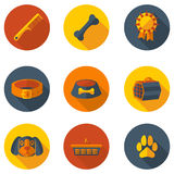Плоские значки заботя для собаки Стоковое Изображение RF