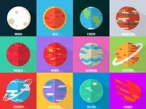 Плоские значки дизайна установили - планеты с именами Стоковое Изображение
