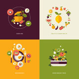 Плоские значки идеи проекта для еды и ресторана Стоковое Изображение RF