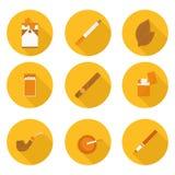 Плоские значки куря аксессуары Стоковое Фото