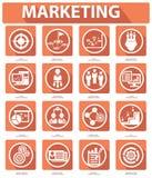 Плоские значки маркетинга, оранжевая версия Стоковые Фотографии RF