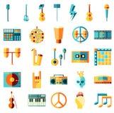 Плоские значки музыки Стоковые Фото