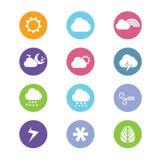 Плоские значки погоды стиля дизайна Стоковое Изображение RF
