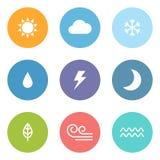 Плоские значки погоды стиля Стоковое Изображение RF
