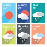 Плоские значки погоды цвета Стоковое Фото