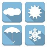 Плоские значки погоды Стоковые Изображения